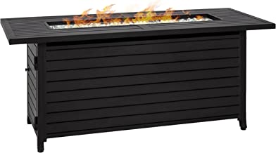 Best Choice Products 57in 50,000 BTU Rectangular Extruded Aluminum Gas Fire Pit Table w/ Nylon Cover and Glass Beads - Black