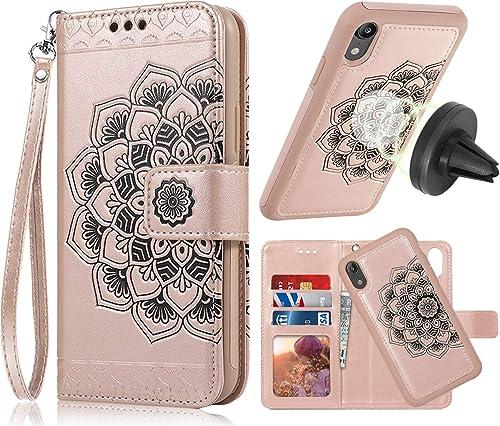 iPhone XR Case, iPhone XR Wallet Case with Detachable Slim Case, Card Solts Holder, Fit Car Mount,CASEOWL Mandala Flo...