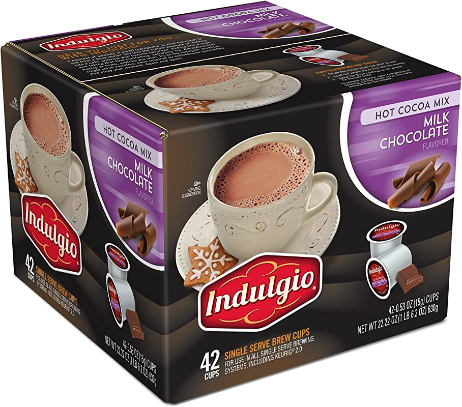 Indulgio Milk Chocolate Cocoa Single Serve For Keurig K Cup Brewers 42 Count Compatible With 2 0 Keurig Brewers