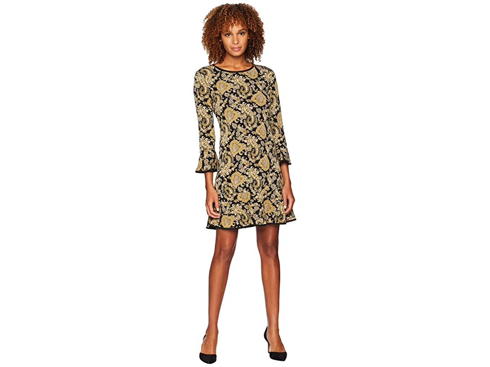 MICHAEL Michael Kors Sweetheart Flounce Dress (Black/Marigold) Women