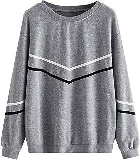 Women's Casual Sweatshirts Crewneck Long Sleeve Color Block Sweatshirt Pullover Tops