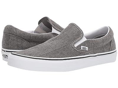 Vans Classic Slip-Ontm ((Herringbone) Grey/True White) Skate Shoes