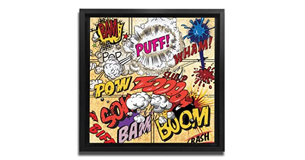 JP London Ready to Hang Made in North America Framed 1.5in Thick Gallery Wrap Canvas Wall Art Comic Book Geek Sheek Newsprint 18in SQSFCNV0055