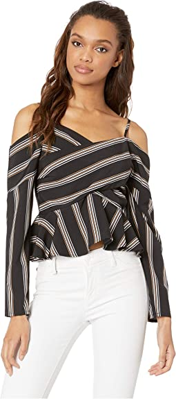 Striped Cold Shoulder Crisscross Top