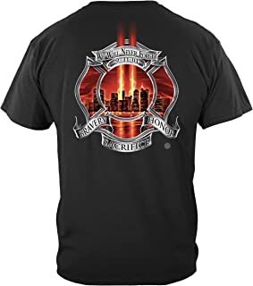 Firefighter T Shirt Red 9/11 Tribute Never Forget Honor Fire Fighter Tshirt