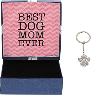 Mother's Day Gifts Best Dog Mom Ever Crystal Adorned Dog Paw Keychain key tag Gifts for Dog Lover Dog Keychain & Gift Box Bundle Mothers Day Gift Idea For A Rescue Dog Mom