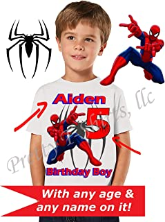 c2eb22da Spider Man Birthday Shirt, We ADD any name and age on it, Family Birthday