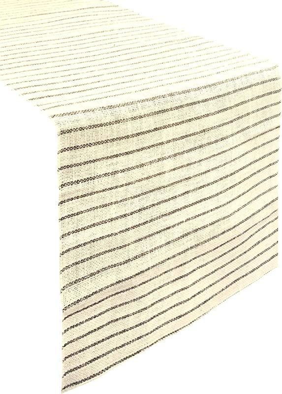 Burlap Table Runner Natural Cream And Gray Jute Chambury Stripes 14 Width X 108 Length