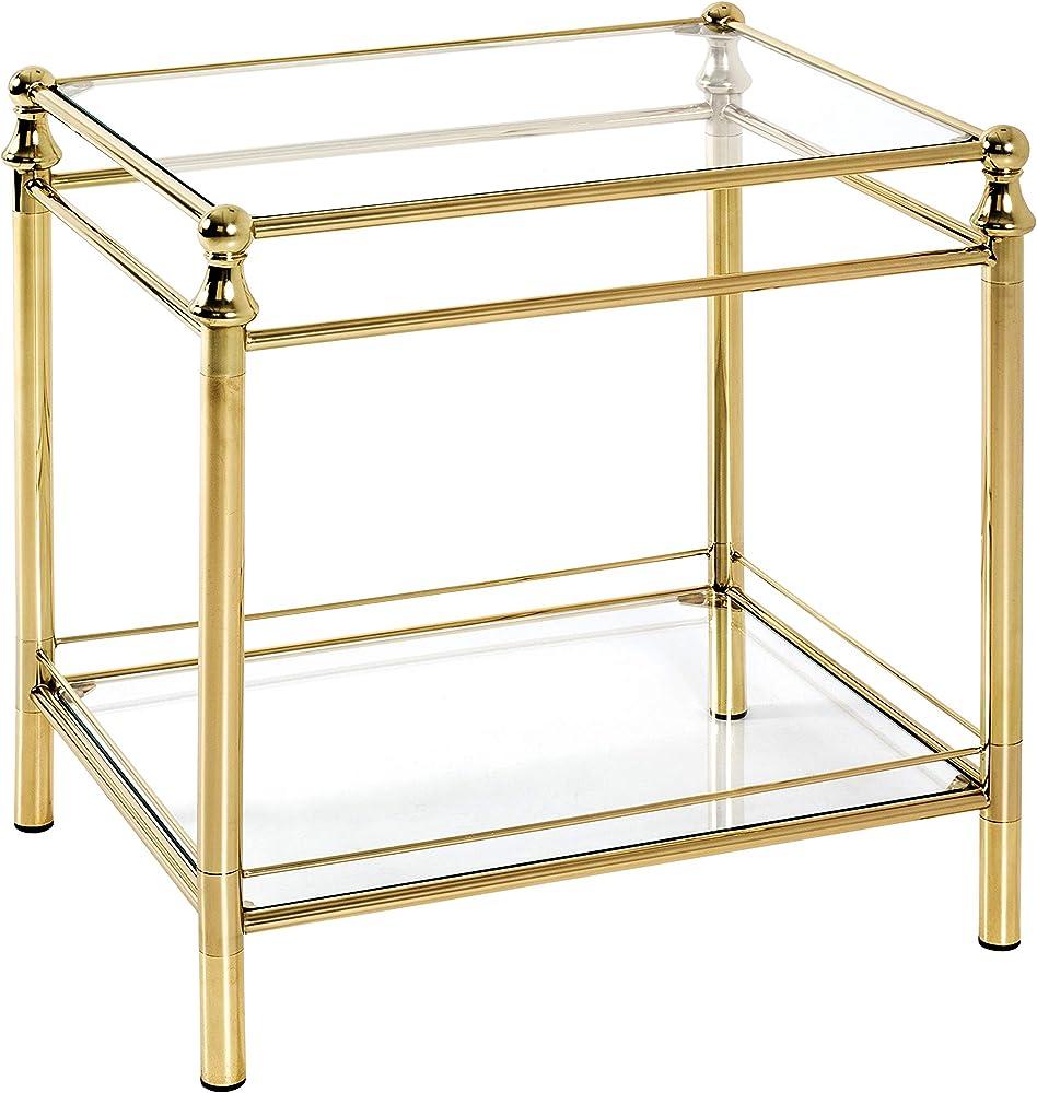 Haku möbel, tavolino struttura in  tubolare d`acciaio in ottone,ripiani in vetro 20322