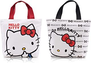 Finex - Set of 2 Random - Hello Kitty Canvas Zippered Tote with Top Carry Handles Bag - Gym Makeup Diaper Reusable Grocery Lunch