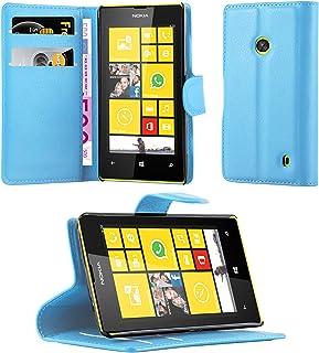 Cadorabo Fodral kompatibelt med Nokia Lumia 520 i PASTELL BLÅ - Skyddsfodral med Magnetfäste, Stativfunktion och Kortplats...
