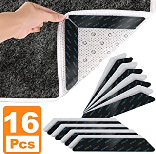Rug Gripper, 16 PCS Anti Slip Carpet Gripper Pads to Keep Rugs in Place & Make Corners Flat, Renewable Carpet Tape with Strong Adhesive for Indoor & Outdoor Rugs (Black)