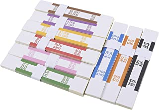Currency Straps – 300-Pack Assorted Bill Wrappers, Money Bands to Organize Bills, ABA Standard Colors, Self-Adhesive, 7.75 x 1.25 Inches