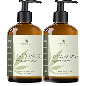 Natural Hemp Extract Hydrating Sulfate Free Shampoo & Conditioner Set- Best for Curly or Frizzy Hair, Safe for Keratin Treated Hair 16 fl. oz