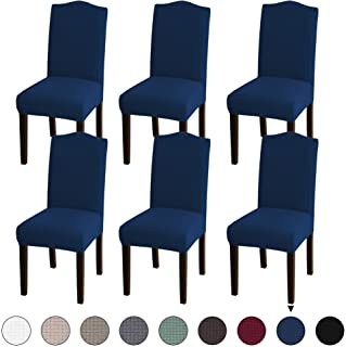 Turquoize Stretch Dining Chair Velvet Fabric Slipcovers Washable Removable Chair Slipcover Dining Chair Protector Cover for Dining Room Set of 6, Navy