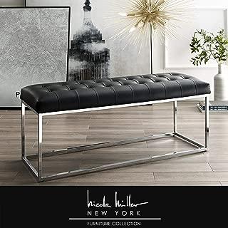 Nicole Miller Dwayne Bench - PU Leather Upholstered | Button Tufted | Metal Frame | Modern | Black/Chrome