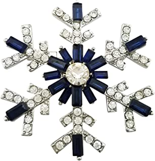 SELOVO Women's Sparkly Snowflake Brooch Pin Blue Crystal Silver Tone