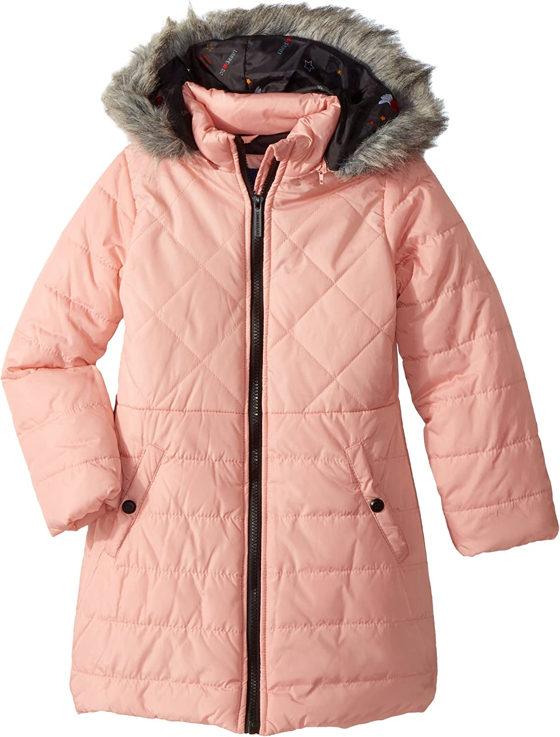 Limited Too Girl's Too Multi Quilted Long Puffer Coat W Printed Down Alternative
