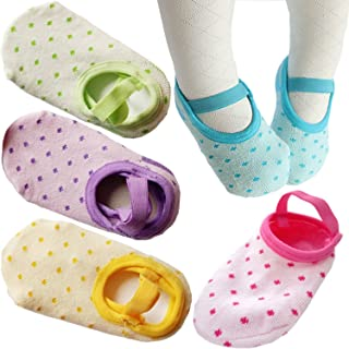 PlyingP Toddler Anti Slip Socks 5 Pairs Baby Socks for 12-36 Months Infants Baby Girl Mary Jane No-Show Crew Boat Ankle Socks Footsocks sneakers