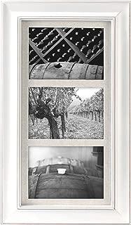 Malden International Designs Barnside Portrait Gallery Textured Mat Picture Frame, 3 Option, 3-5x7, White