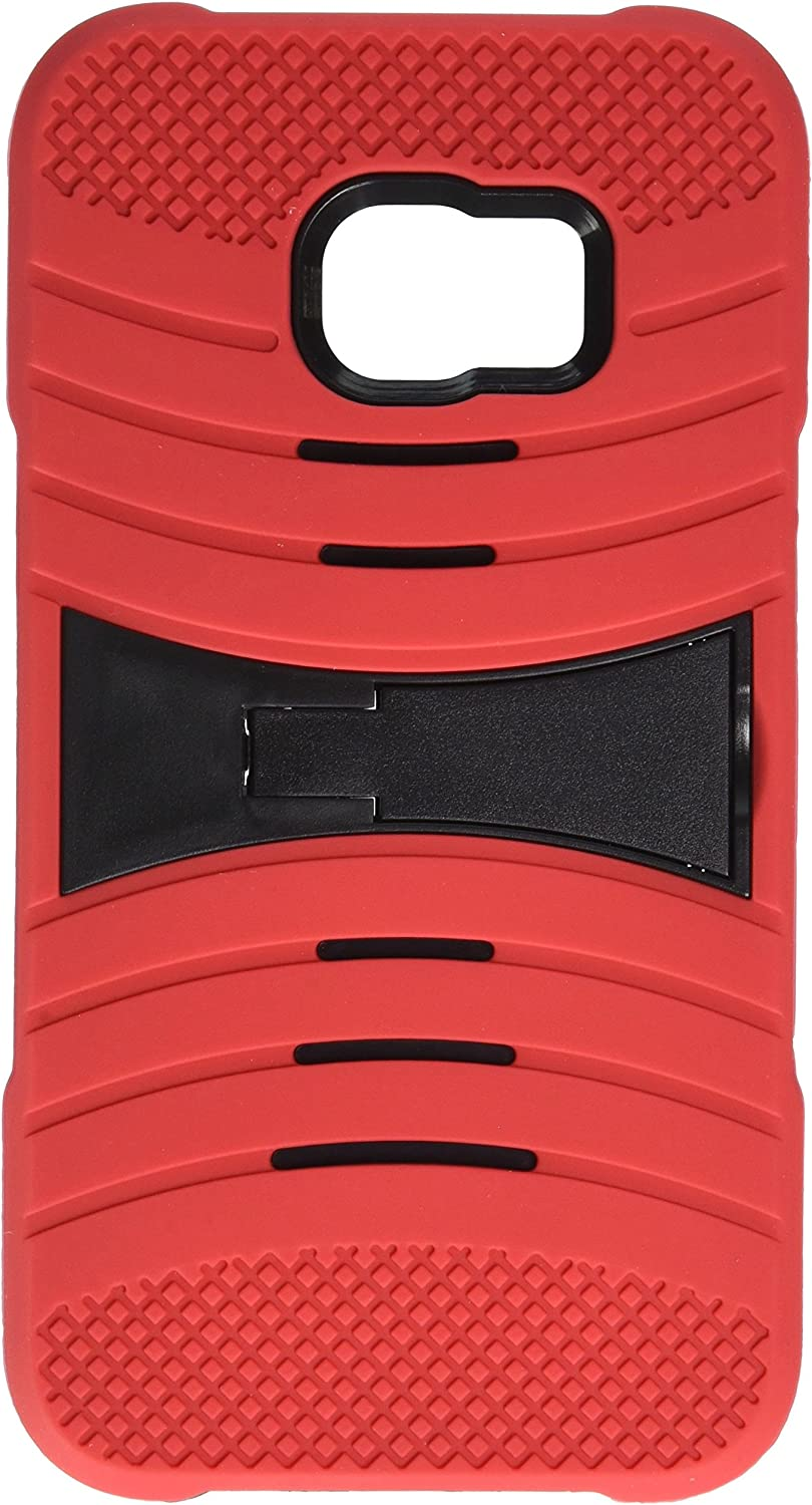 Asmyna Cell Phone Case for Samsung Galaxy S6 Edge Plus - Retail Packaging - Black/Red