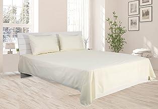 Hotel Linen Cream Plain Double Size 220 x 240 cm Bedding Set - 3 Pieces