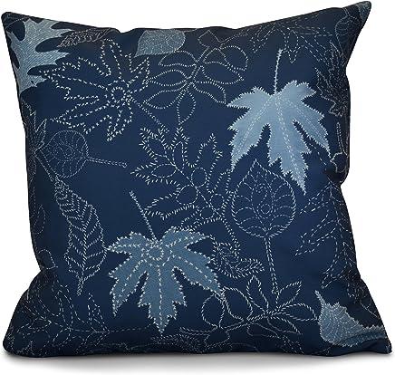 E by design O5PFN745BL37-16 16 x 16 Autumn Leaves Floral Print Blue Outdoor Pillow