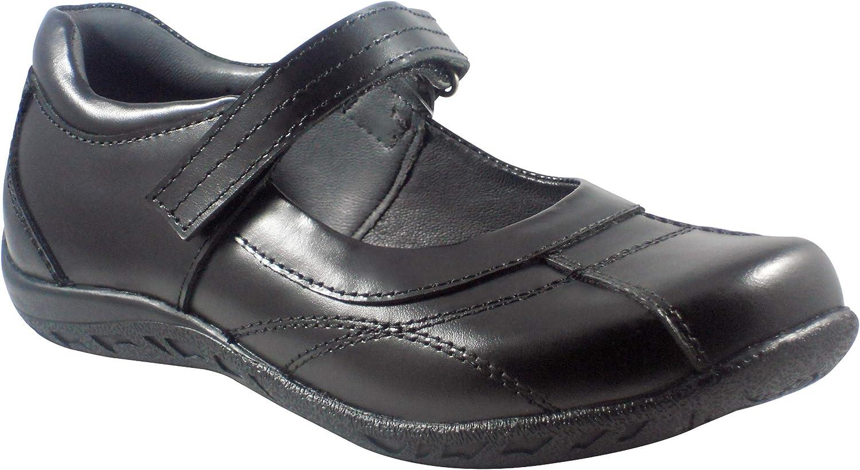 BOBBLEKIDS Little Girls Black Soft Leather Shoes, Carmen 12.5M