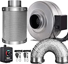 iPower GLFANXINL4FILT4MD8CTR 4 Inch 190 CFM Inline Fan Carbon Filter 8 Feet Ducting Combo with Variable Speed Controller and Rope Hanger for Grow Tent Ventilation, Grey