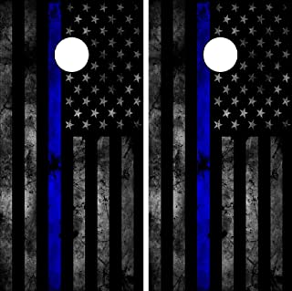 C202 Police Distressed American Flag WRAP Wraps Laminated Board Boards Decal Set Decals Vinyl Sticker Stickers Bean Bag Ga...
