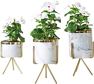 Set of 3 Ceramic Decorative Pots with Stands for Artificial Flowers, Succulents, Cactus. Gold Colored Metal with Beautiful Marble Look for Home & Office