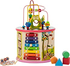 KIDDERY TOYS Activity Cube Wooden Activity Center 8-in-1 Toys Educational and Learning for Boys and Girls {Medium Size}(Pink)