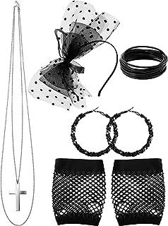 80s Party Accessories, Dot Lace Headband Fishnet Glove Earring Necklace Bracelet