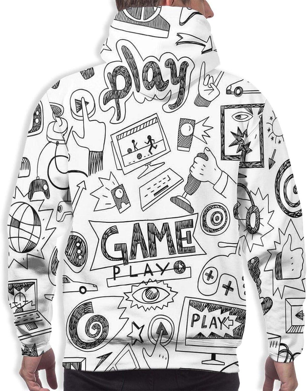 Men's Hoodies Sweatshirts,Monochrome Sketch of Octopus Tentacles Ocean Waves Boat