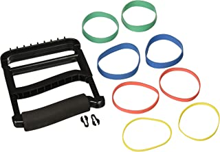 Rolyan Ergonomic Hand Exerciser with Padded Handle, Adjustable Squeeze Tool, 4 Pairs of Rubber Bands for Progressive Resistance, Improves Hand Grip Strength in Fingers, Hand, & Thumb, Black