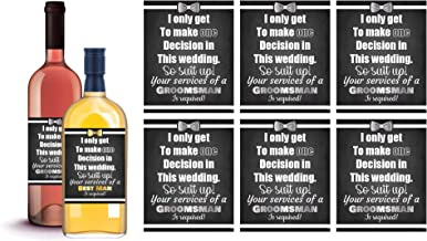 6 Will You Be My Groomsman + 1 BONUS Best Man Proposal Wine Labels or Liquor Labels, Whisky, Vodka, Rum, Beer Bottle Labels or Stickers set, Groomsmen Party Favors, Party Decorations (Suit Up!)