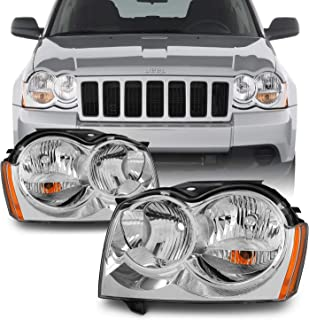 For Jeep Grand Cherokee Replacement Headlights Driver/Passenger Chrome Head Lamps Pair New