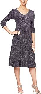 Alex Evenings Womens 8125901 Short Glitter Knit A-line Dress 3/4 Sleeve Special Occasion Dress - Gray
