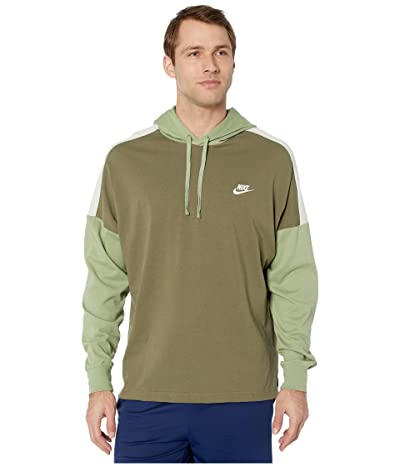 Nike NSW Hoodie Pullover Jersey Color Block (Medium Olive/Oil Green/Light Bone/White) Men