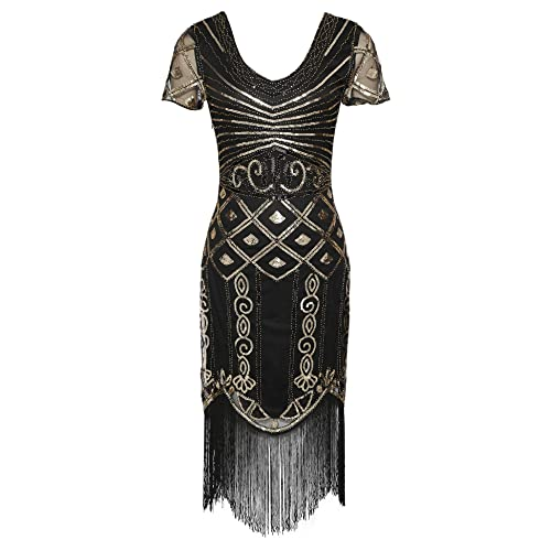 d3cbedf98ea6d celeblink Women s 1920s Great Gatsby Cocktail Dress Sequin V Neck Art Deco Flapper  Dresses