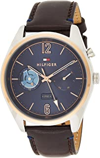 Tommy Hilfiger 1791549 Mens Quartz Watch, Analog Display and Leather Strap, Blue