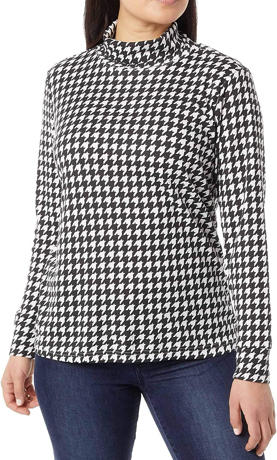 ANTHONY RICHARDS Women's Houndstooth or Polka Dot Knit Pullover Turtleneck Long Sleeves