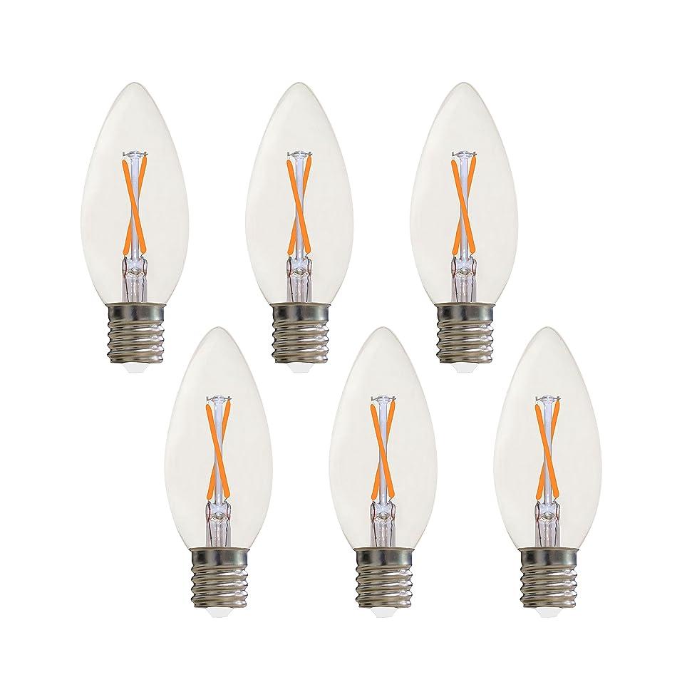 快適付添人炭素LED電球 LEDフィラメント電球 装飾ライト E17 2.5W代替25W白熱電球 2年間保証 (6, 12)