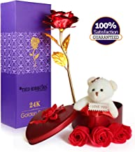 TIED RIBBONS Valentines Day Gift for Girlfriend Boyfriend Husband Wife Girls Boys - Gift Combo Pack (Valentines Special Teddy Gift Box with Scented Rose Flowers and 24K Gold Plated Rose)