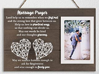 12.5×8.5 Marriage Prayer Wedding Gifts for Couples Anniversary, Rustic Wood Plaque Home Bedroom Wall Decor, Religious Enga...