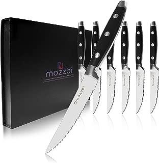 Premium Serrated Steak Knives 6-Piece Laser Cut Ultra-Sharp Stainless Steel Steak Knife, Cutlery Set,Dinner Knives Gift Set By Mozzbi