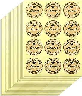 Aallo 360 Pièces Autocollant de Remerciement Fait à la Main Rond en Papier Kraft Merci Sticker Merci Stickers Autocollants...