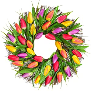 """Lvydec Artificial Tulip Flower Wreath - 17"""" Floral Spring Wreath with Vibrant Faux Tulips and Leaves for Front Door Home Decoration"""