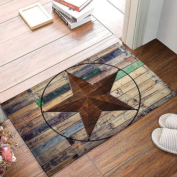 Rustic Vintage Texas Star Barn Wooden Doormat Door Mat Rug Outdoor Indoor For Home Office Bedroom