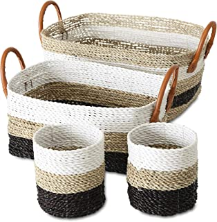 Cape Cod Natural, Black and White Striped Rustic Nesting Baskets, Set of 4, Round and Rectangular, Faux Leather Handles, Woven Seagrass, Storage and Organization, 19, 11, and 10 Inches